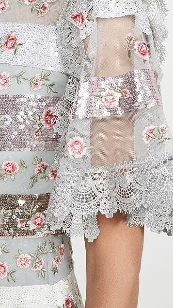 Needle & Thread 玫瑰花蕾条纹迷你连衣裙