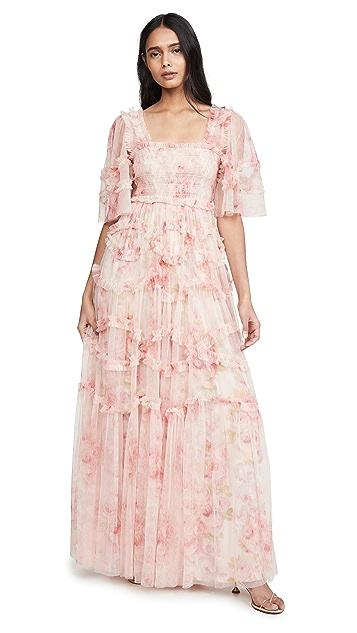 Needle & Thread Вечернее платье Ruby Bloom со сборками