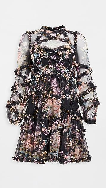 Needle & Thread 花卉菱形荷叶饰边连衣裙