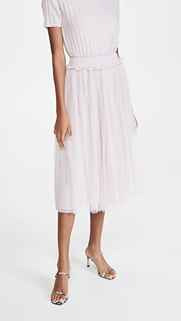Needle & Thread 蜂窝纹抽褶中长半身裙