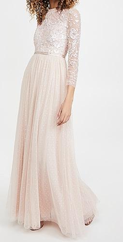 Needle & Thread - 亮片缎带长袖紧身胸衣长连衣裙