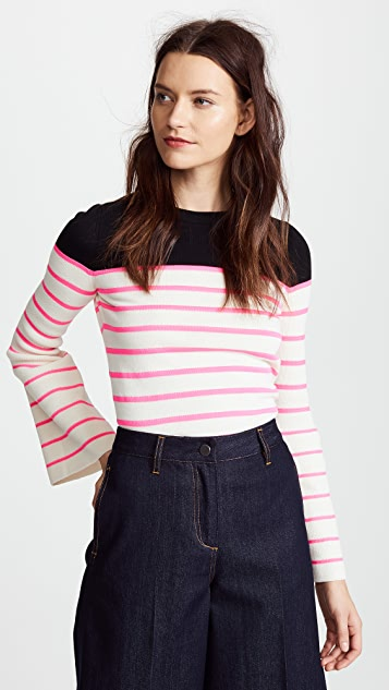 NUDE Striped Sweater with Round Neckline