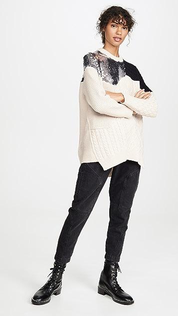 NUDE Расшитый блестками свитер с округлым вырезом