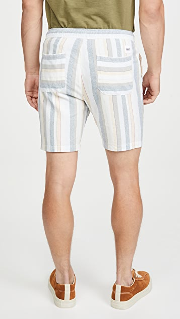 Native Youth Yarn Dye Multi Stripe Casual Shorts