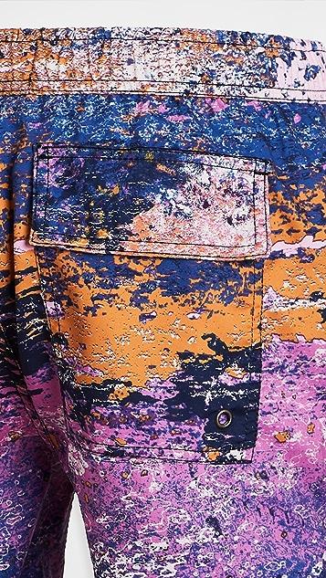 Native Youth Printed Distressed Pattern Swim Shorts