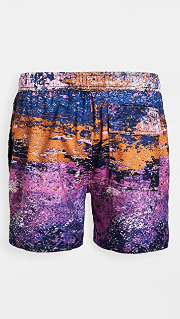 Native Youth Printed Distressed Pattern Swim Shorts