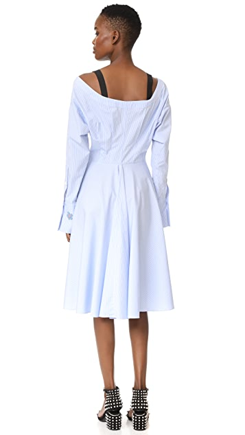 Natasha Zinko Cotton Pinstripe Shirting LS Midi Shirt Dress