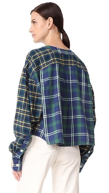 Natasha Zinko Printed Oversized Cotton Plaid Shirt
