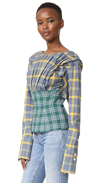 Natasha Zinko Cotton Plaid Top
