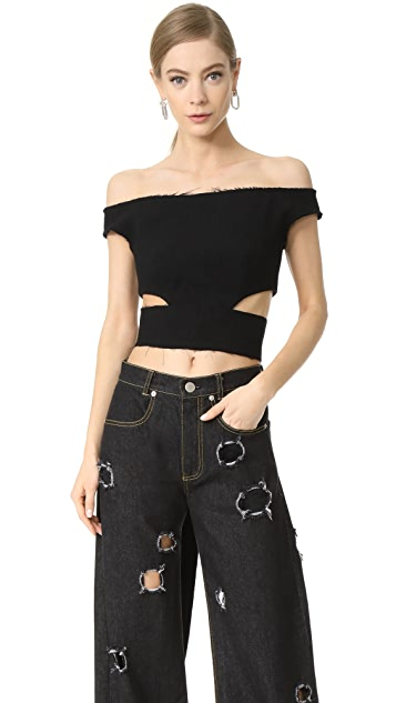 Natasha Zinko Ribbon Off Shoulder Crop Top