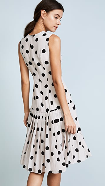 Natasha Zinko Silk Polka Dot Pleated Hem Dress