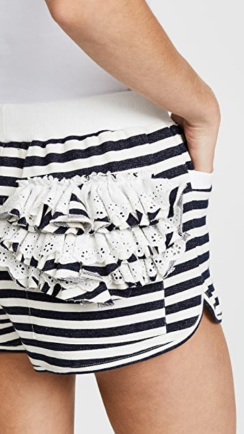 Natasha Zinko Cotton Jersey Striped Drawstring Shorts