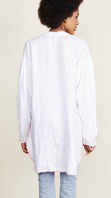 Natasha Zinko Linen Embroidered Long Sleeve Tunic