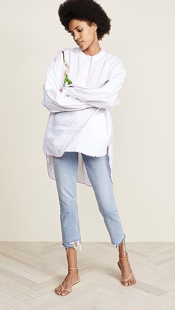 Natasha Zinko Linen Embroidered Long Sleeve Tunic