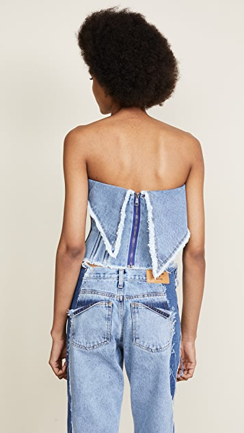 Natasha Zinko Denim Stonewash Strapless Top with Back Zip Corset