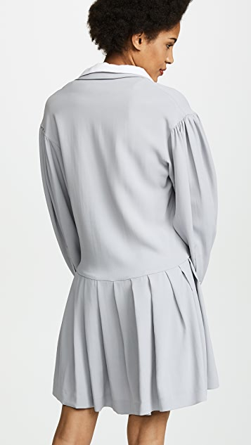 Natasha Zinko Crepe Long Sleeve Double Collar Pleated Hem Mini Dress