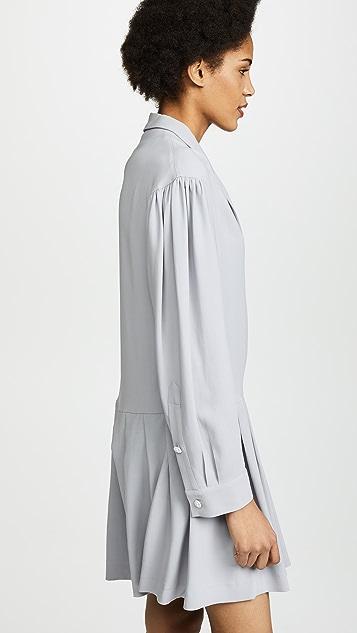 Natasha Zinko Crepe Long Sleeve Double Collar Pleated Hem Mini Dress