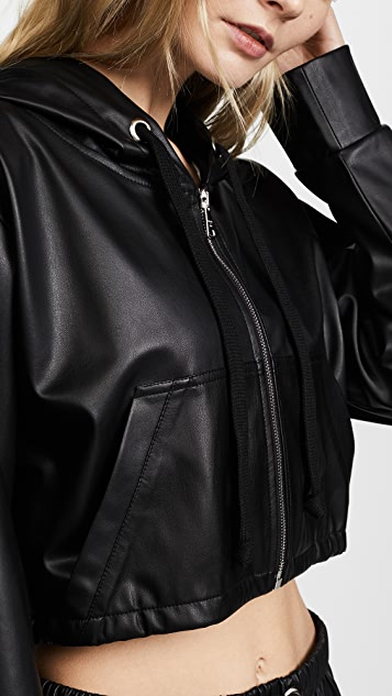 Natasha Zinko Faux Leather Zip Front Jacket