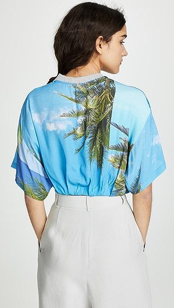 Natasha Zinko Palm Print Cropped Tee