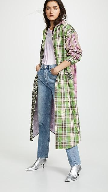 Natasha Zinko Padded Oversized Plaid Robe Coat