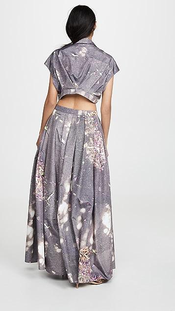 Natasha Zinko Printed Open Back Shirtdress
