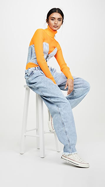Natasha Zinko Zipped Front Corset Denim Overalls