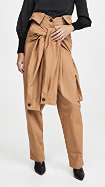 Cargo Tied Sleeves Collar Waist Trousers