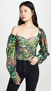 Printed Lantern Sleeve Top