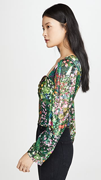 Natasha Zinko Printed Lantern Sleeve Top