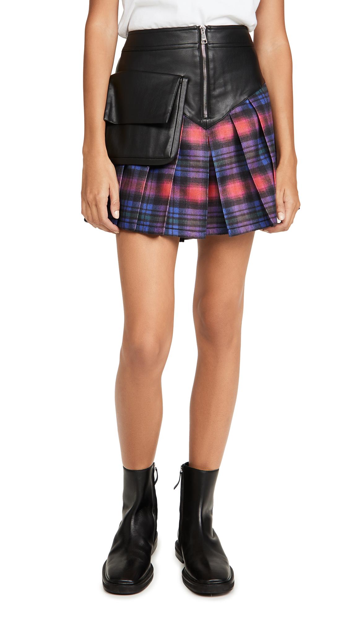 Natasha Zinko Checked Wool Miniskirt With Yoke