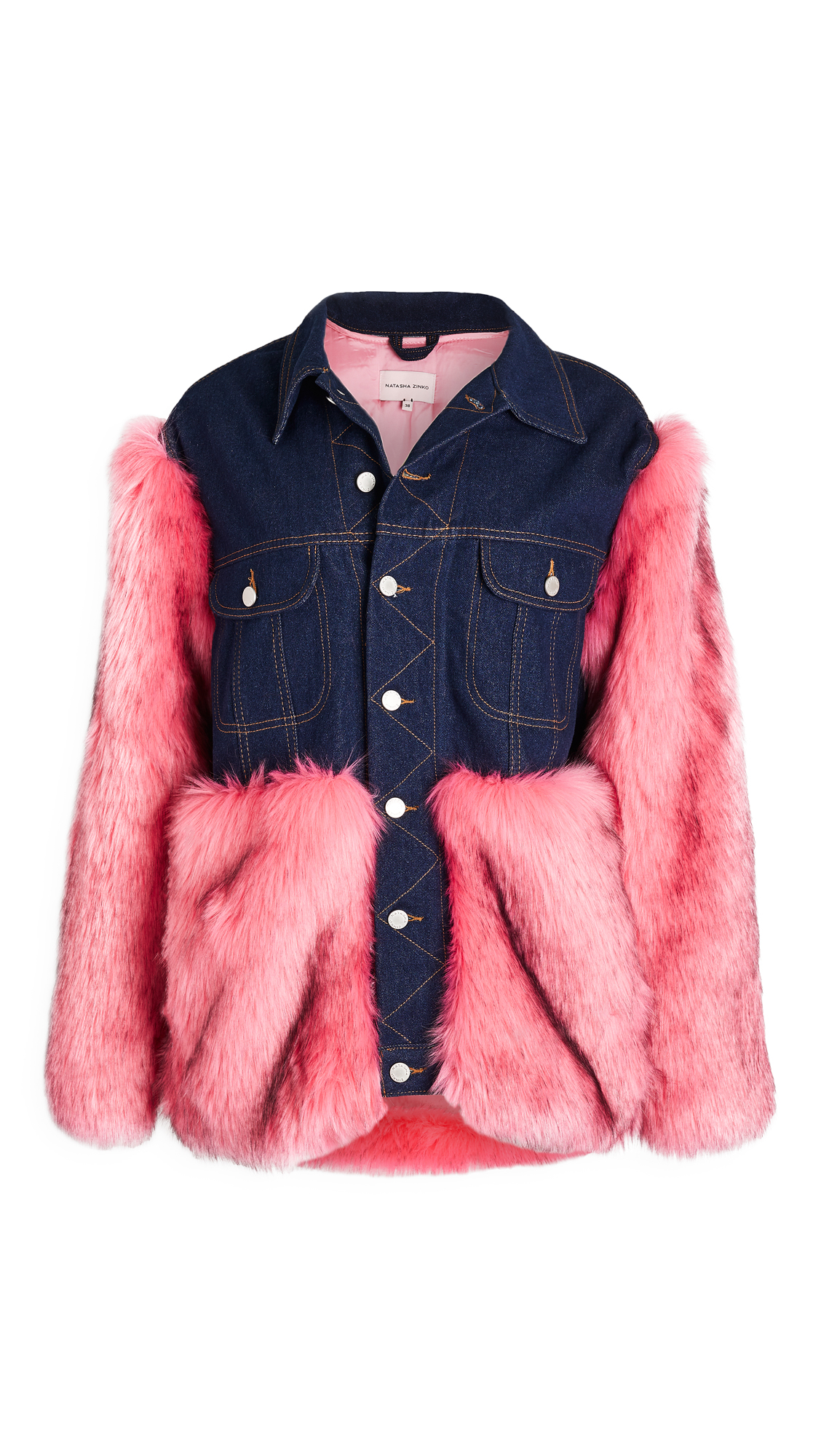 Natasha Zinko Faux Fur & Denim Jacket