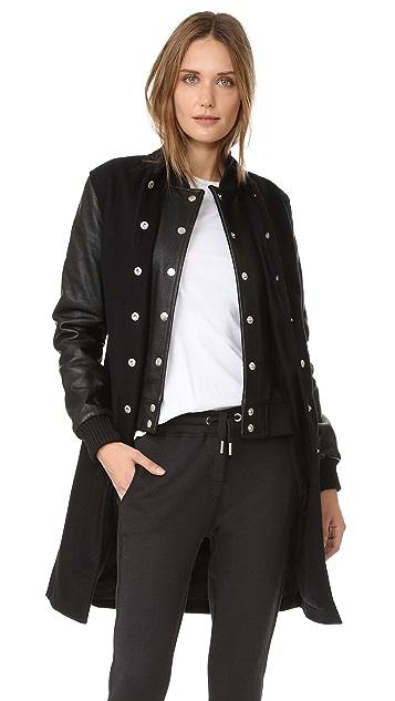 Oak Long Double Front Varsity Jacket
