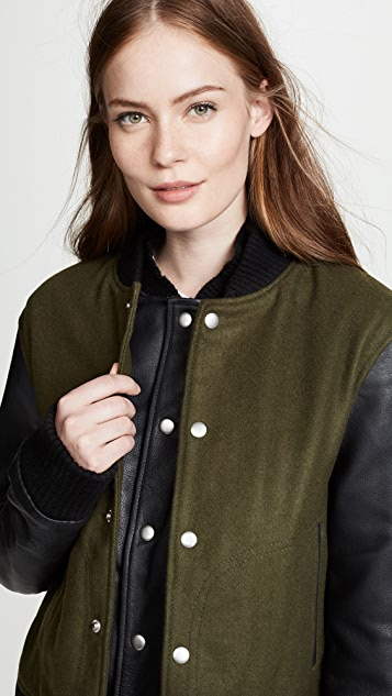 Oak Double Front Varsity Jacket