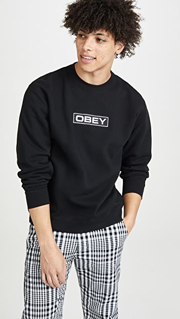 Obey Obey Enigma Embroidered Crew Neck Sweatshirt