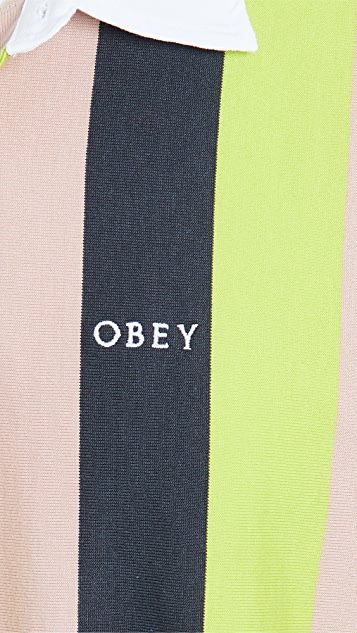 Obey Long Sleeve Side Line Polo Shirt