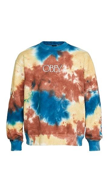 Obey Premium Crew Fleece Tie Dye Sweatshirt