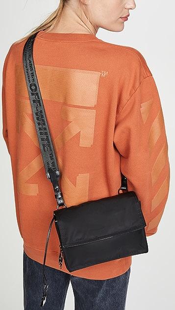 Off-White Nylon Zipped Flap Bag