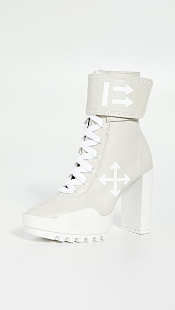 Off-White Arrow Heeled Moto Wrap Boots
