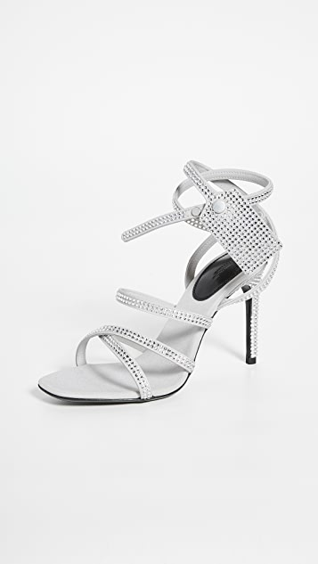 Off-White Sandals Crystal Satin Zip Tie Sandals