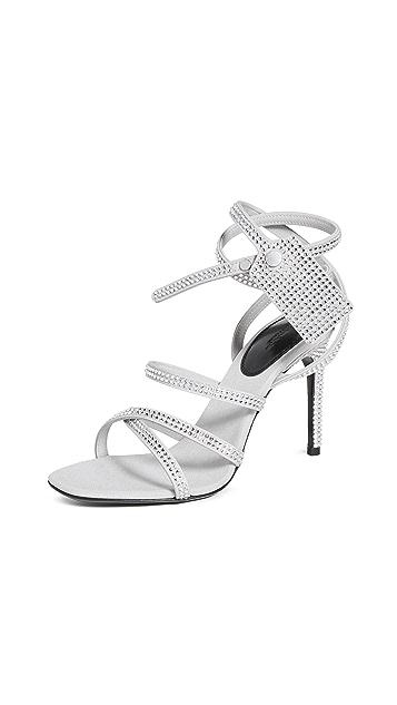 Off-White 水晶缎面拉链带凉鞋