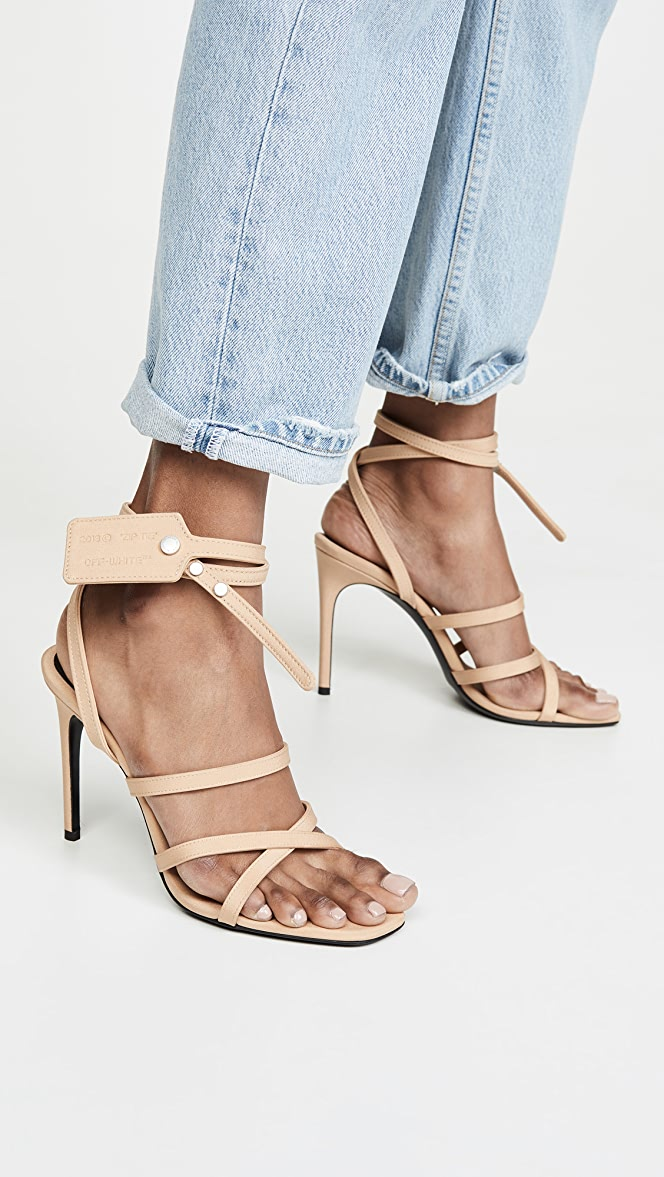 Off-White Satin Zip Tie Sandals   SHOPBOP