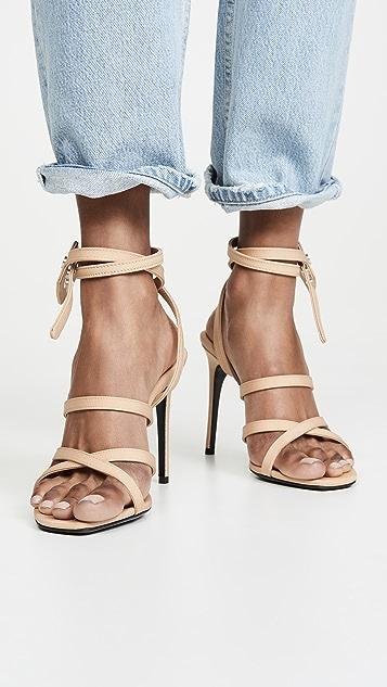 Off-White Satin Zip Tie Sandals
