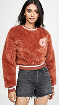Faux Fur College Crew neck