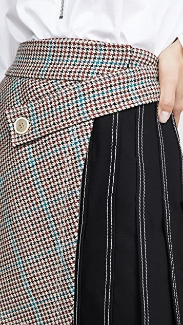 Off-White Check Multipanel Skirt