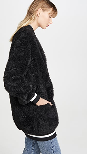 Off-White Faux Fur College Cardigan