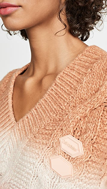Off-White Needle Punched V Neck Sweater