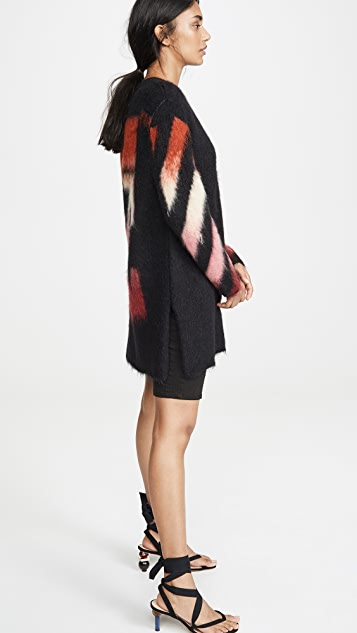 Off-White Diagonal Intarsia Mohair Sweater Dress