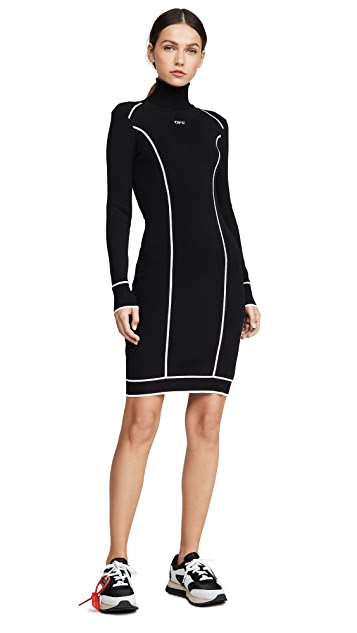 Off-White Knit Athletic Turtleneck Dress