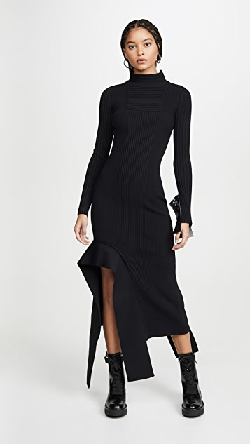 Off-White Knit Long Sleeve Dress