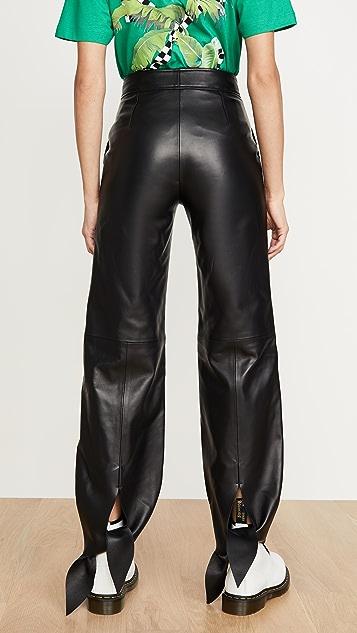 оттенок белого Кожаные тренировочные брюки с бантом